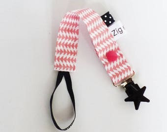 Pacifier - TRIANGLE pattern fabric coral pink and black
