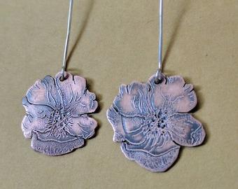 Wild Poppy Copper and Sterling earrings