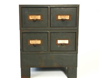 Vintage Metal Card Catalog with Base Parts Cabinet on Legs Craft Storage