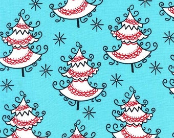 Christmas Fabric/Red Trimmed, White Trees on Aqua/Michael Miller/Cotton Sewing Material/Quilting/Fat Quarter, Half, or By The Yard, Yardage