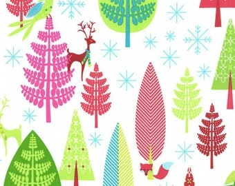 Christmas Fabric - Retro Forest, Deer - Michael Miller - Cotton Sewing Material - Quilting, Clothing - Fat Quarter, By The Yard, Yardage