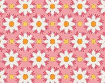Dreamin' Vintage Fabric/Pink with White Flowers/Jeni Baker/Art Gallery Fabrics/Cotton Sewing Material/Quilting, Clothing/Yardage/By The Yard