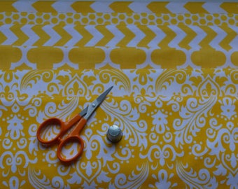 Yellow and White Fabric Bundle/6 Fat Quarters/Quatrefoil, Houndstooth, Chevron, Damask/Cotton Sewing Material/Quilting, Clothing, Craft