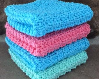Hand Knit Cotton Dish Cloths / Face Cloths Set of 4