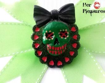 Mixed Media Handmade Hand Painted Skull Cameo Hearts and Bow Horror Hair Bow
