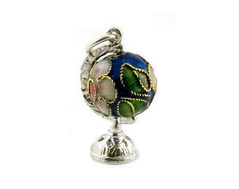 Sterling Silver & Dark Blue Cloisonné Globe Charm For Bracelets