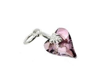 Sterling Silver & Swarovski Amethyst Crystal Wild Heart Charm For Bracelets