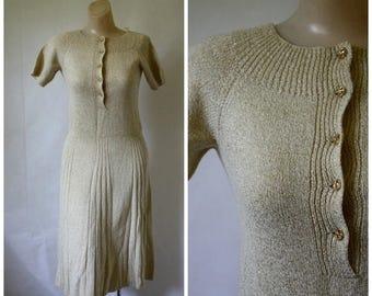 Sale Vintage Gold Knit Dress / 1970's Knit Sweater Dress  / Golden Executive Dress / 70s Metallic Office to Evening Cocktail Dress M