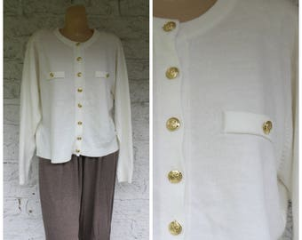Ivory Cardigan Sweater / 1970s Every Day Sweater / Button Front Cardigan / Cashmora Cardigan Sweater / Vintage Ivory Cardigan Sweater L/XL