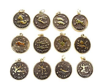 4 Individual Antique Gold Zodiac Charms - 23-33-5
