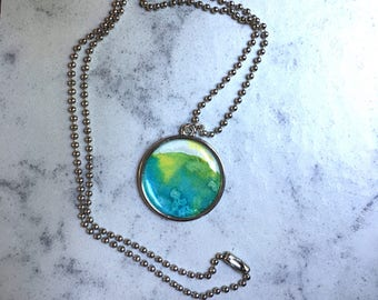 Watercolor necklace--green blue yellow abstract painting pendant jewelery