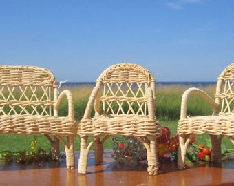 3 piece set Wicker Doll Barbie Fashion Doll Size Rattan Furniture 2 chairs loveseat for dollhouses, fairy gardens and play