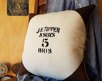WOOL bale cushion hand made from vintage stencil on cotton calico with leather corners and real cotton ticking back.