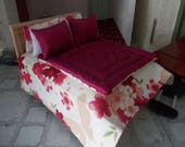 dollhouse bed wooden bed for a dolls house  double bed with covers dolls house 12th  bed and bedding