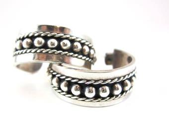 vintage Mexican silver earrings hoops heavy pierced ears
