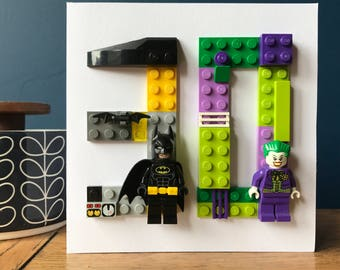 Minifigure Age, Number Anniversary Initial Card, double. Batman Joker, Superman Lois Lane, Starwars, Harry Potter