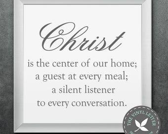 Christ Center of Home Vinyl Wall Religious Home Decor Decal Sticker