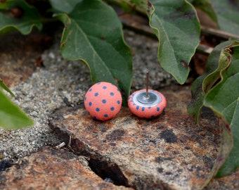 Polka Dot Earrings | Fabric Studs | Polka Dot Jewelry | Titanium Studs | Hypoallergenic Studs | Button Earrings | Dot Stud Earrings