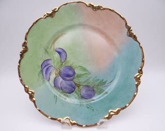 Vintage Johnson Bros Staffordshire Hand Painted Grapes Dinner Plate