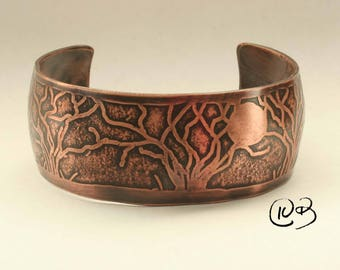 Unisex copper moonlit trees cuff bracelet