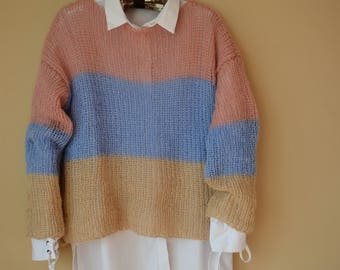 Hand Knit Mohair Sweater Fluffy Tunic Loose Knit Women's Sweater Pink Blue Beige
