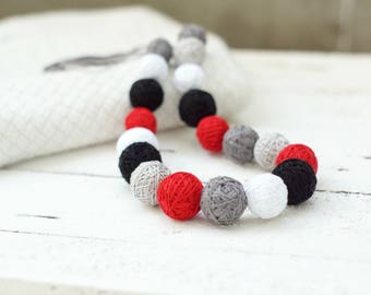 girls necklace spring summer necklace balls thread cotton for women fiber natural summer colorful