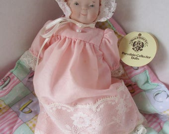 "Bisque Doll 8"" Pink Dress, Bonnet by House of Global Art Bette Ball To From Tag"