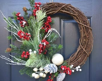 30% OFF Christmas Wreath, Winter Wreaths, Winter Decor, Winter Decorating, Red Berry Wreath, Evergreen Wreath, Winter Gifts, Gifts for Her