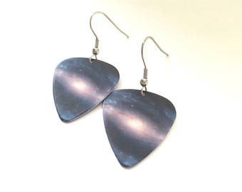 Galaxy Guitar Pick Earrings with Stainless Steel Earwires - Outer Space