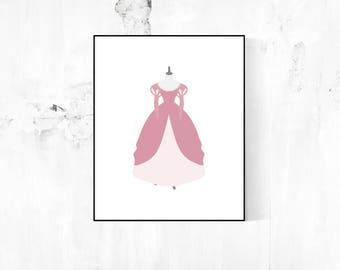 Disney Wardrobe Collection Minimalist Poster - Ariel's Pink Dress (The Little Mermaid)