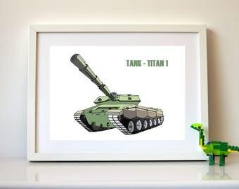 Army Tank Printable Art, Military Print, Boys Room PRINTABLE ART, Army Print, Downloadable Art for Boy or Girl's room