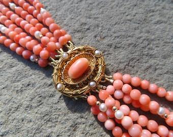 Vintage Coral Bracelet,Repurposed Brooch Jewelry,Pink Coral,Angel Skin Coral,Coral Jewelry,Coral Bracelet,Repurposed Vintage 14K Jewelry