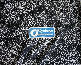 Vintage Cyclone International Embroidered Patch. 70s or 80s Rare Industrial Worker Trucker Patch. White Blue Trucker Worker Patch