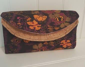 Cotton and cork double flap clutch wallet