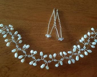 Freshwater Pearl and Swarovski Crystal Hair Vine (9 inches)