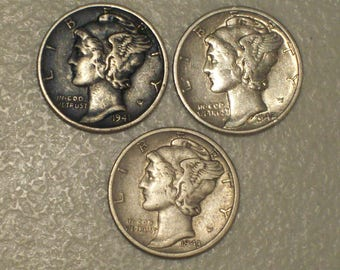 Lot of 3 US Winged Liberty Head Mercury Silver Dimes, 1941 D, 1942 D, 1943 D