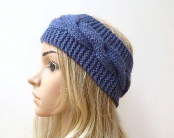 Blue Wool Cable Headband - Women Hand Knitted Headband - Blue Wool Cabled Ear Warmer - Women Aran Eco Friendly Headband - Clickclackknits