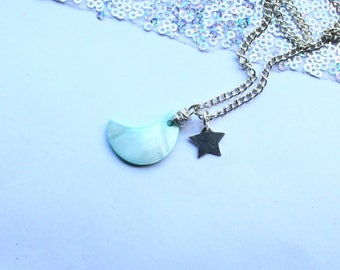 Moon Necklace With Solid Silver Star Charm Gift For Child