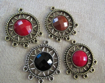 Chandelier Earring Findings Large Center Round Faceted Cabochon Black on Silver Brown Red and Dark Pink on Antique Gold One to 5 Connectors