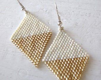 beige and gold, geometric gold earrings