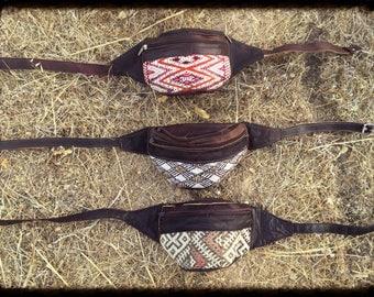 Unisex Utility Belt, Leather Hip Bag, Waist Bag, Hip Purse, Festival Belt, Burning Man Belt, Tribal Nomad Hippie Gypsy Belt Bag, Fanny Pack