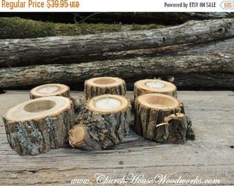 SALE Grab Bag of 20 Tree Branch Candle Holders, Rustic Wedding Candle Holders, Rustic Wedding Centerpieces, Wood Candle Centerpieces