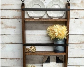 ON SALE Rustic ladder shelf, rustic shelf with hooks,rustic  farmhouse shelf, cottage chic, home decor, industrial pipe shelf