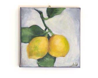 "Lemons Original Still  Life Painting, Acrylic on Canvas 6 x 6"" - ""Two Lemons"""