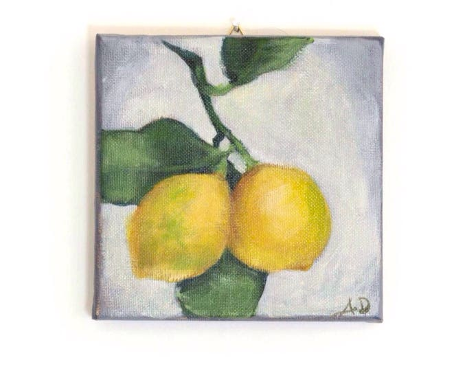 "Featured listing image: Lemons Original Still  Life Painting, Acrylic on Canvas 6 x 6"" - ""Two Lemons"""