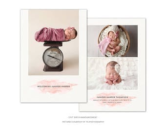 BA6 :. Birth Announcement template | Pink Watercolor