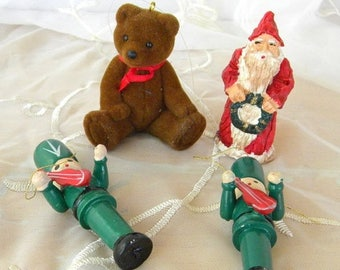 Summer Sale Lot of Vintage Ornaments, Figurine, Two Wooden Soldiers, Flocked Teddy Bear, Santa Figurine