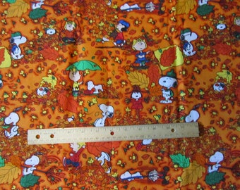 Dark Orange Fall/Leaves Peanuts Gang/Snoopy Cotton Fabric by the Half Yard