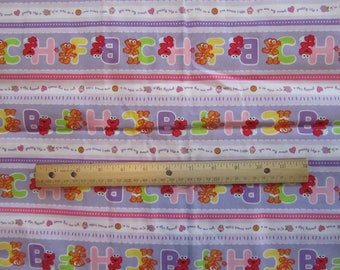 Purple Striped Sesame Street Character Cotton Fabric by the Yard