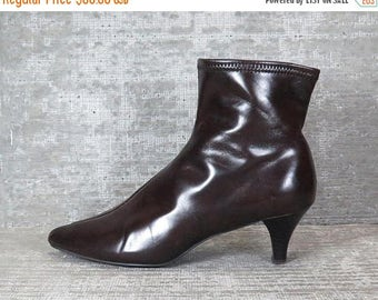 30OFF Vtg 70s brown pleather elastic ankle boots 9